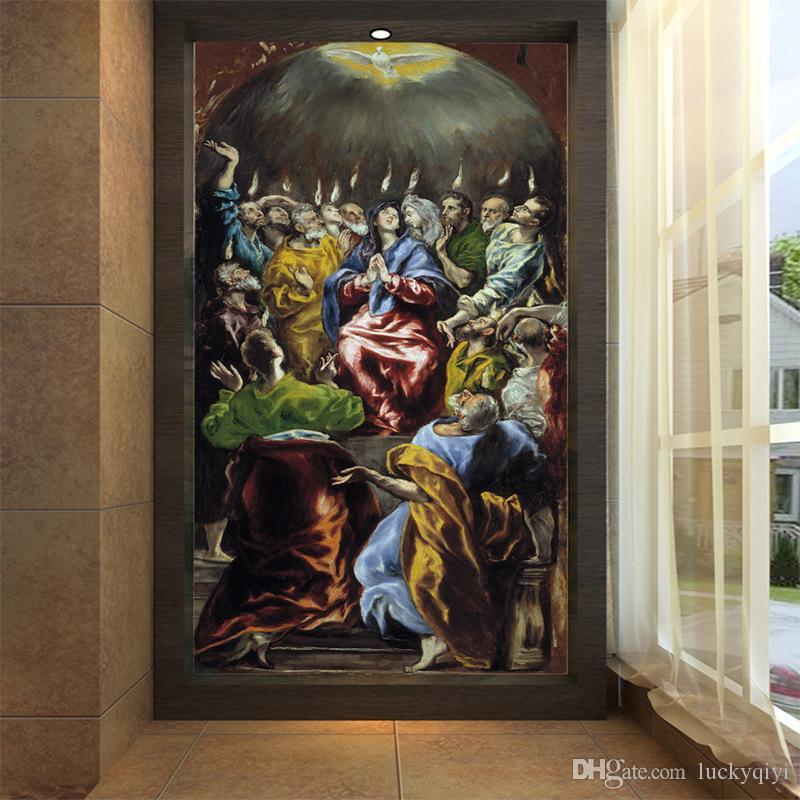 Batı ünlü boyama büyük Avrupa yağlıboya duvar kağıdı sundurma ışık havuzu dini duvar Melek oturma odası koridor arka plan dekor