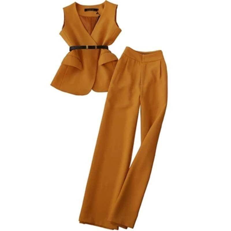 الأزياء البدلة الإناث ربيع جديد الصيف عارضة دعوى الإناث السيدات الرقبة سترة + ارتفاع الخصر السراويل الساق واسع السراويل قطعتين