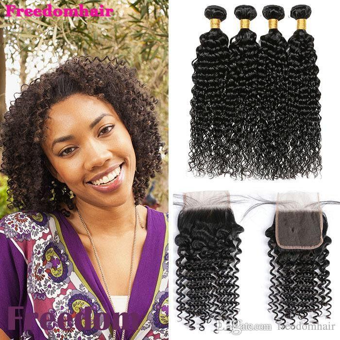 Malaysian brasileira Water Wave Virgin Cabelo Weave Water Wave extensão do cabelo 4 pacotes com fecho peruana Malásia brasileira Cabelo Virgin