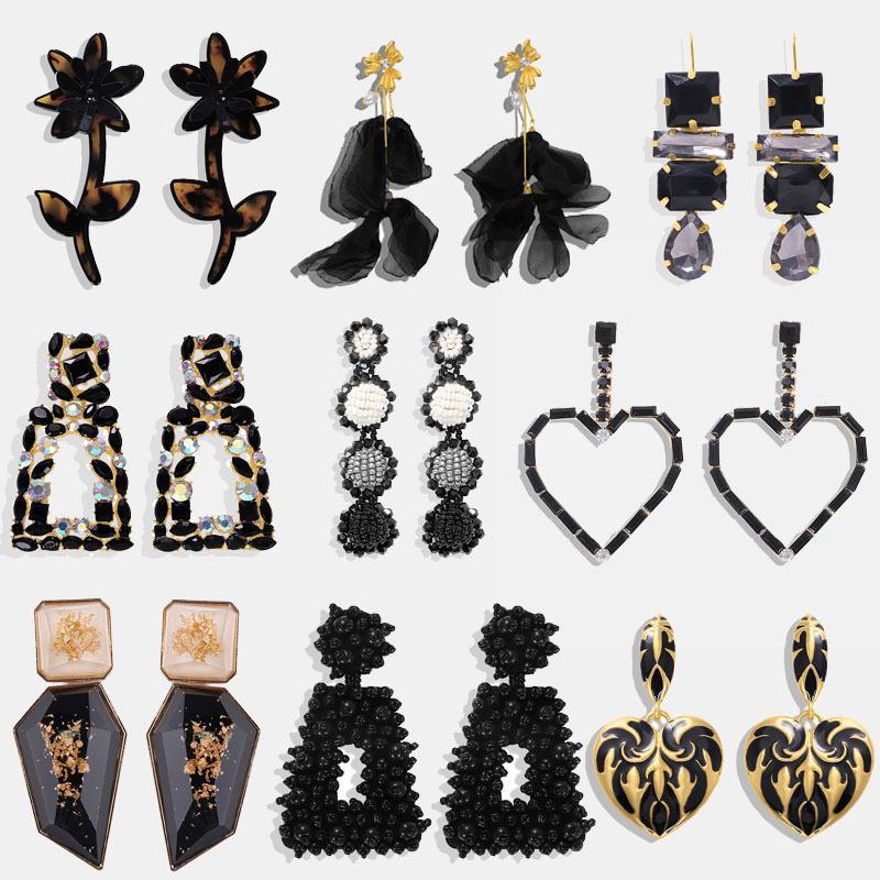 Dvacaman ZA Negro Cor completa Coração Rhinestone Brincos para Mulheres Boho frisado borla brincos Declaração de moda jóias presente