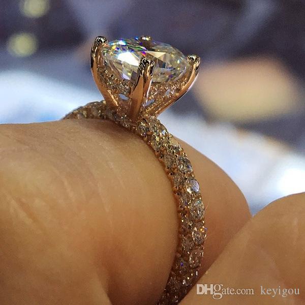 2020 Mode d'argent anneaux de mariage pour les femmes Princesse Proposer engagement rond mariée Zircon anneaux de bijoux