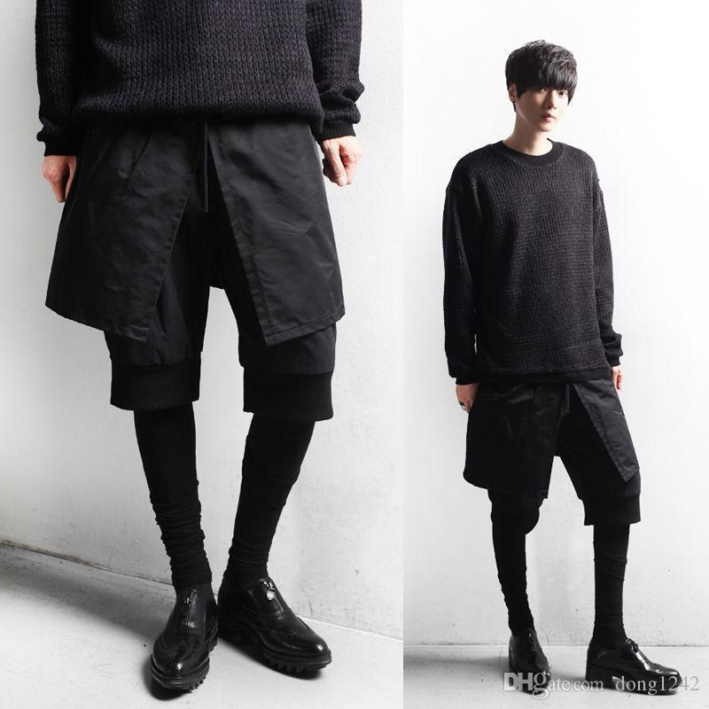 Cool Men New Stretch Waist Meggings Layer Shorts Leggings Combo Pants Trousers