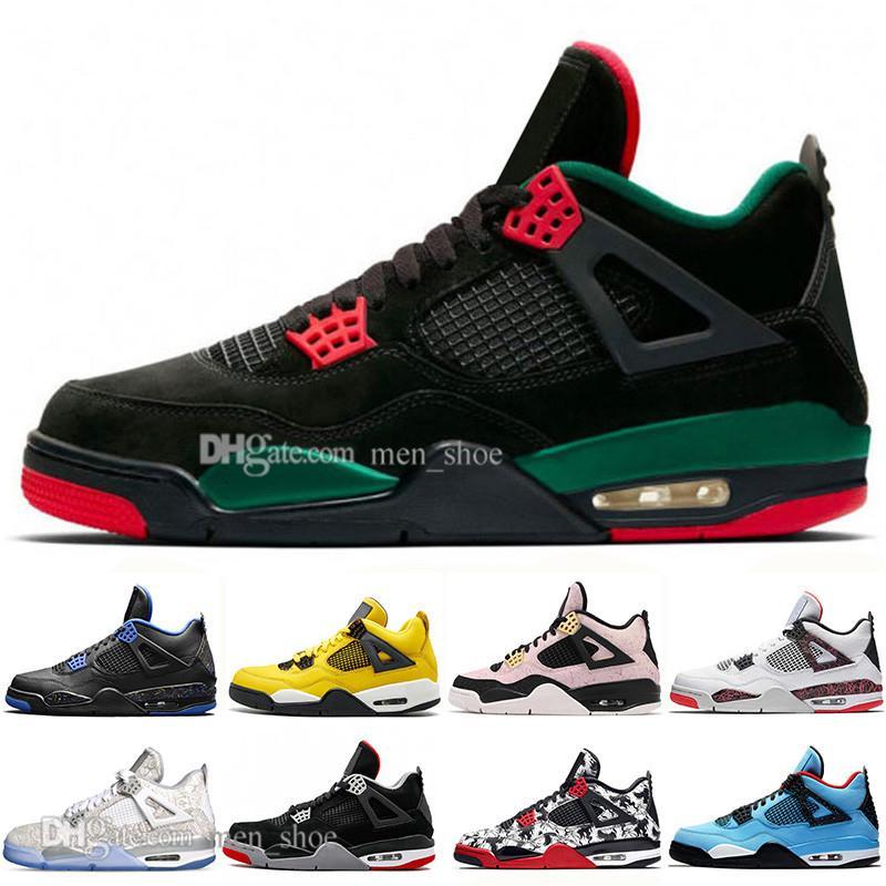 Con la caja barato 2019 Nueva Bred 4 Iv 4s lo que los zapatos Cactus Jack láser Alas de baloncesto del Mens Eminem pálido Citron Hombres Deportes zapatillas de deporte de diseño