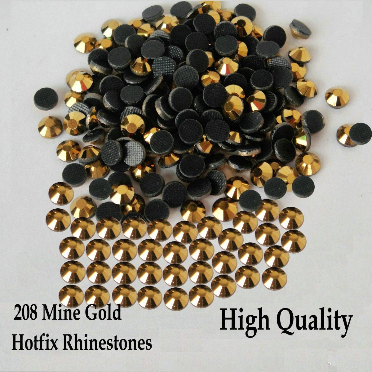 Heat Transfer 208 Mine Gold Hot fix Strass Flatback Hotfix Rhinestones For SS6 SS10 SS16 SS20 SS30