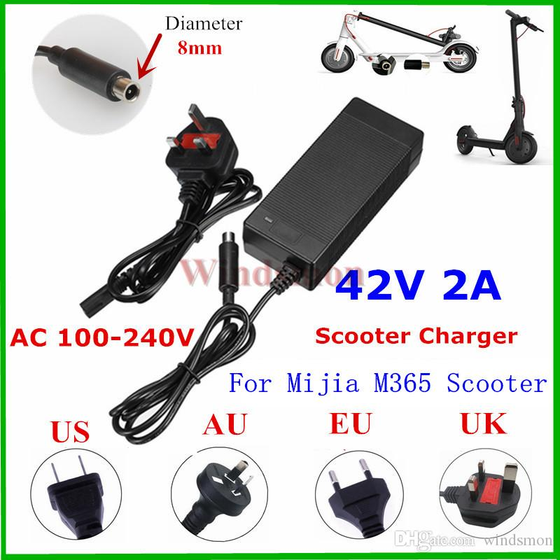 Universal Hoverboard Charger EU/AU/UK/US Socket 42V 2A Lithium Battery Charger For Mijia M365 / ES2 Electric Scooter 10pcs DHL