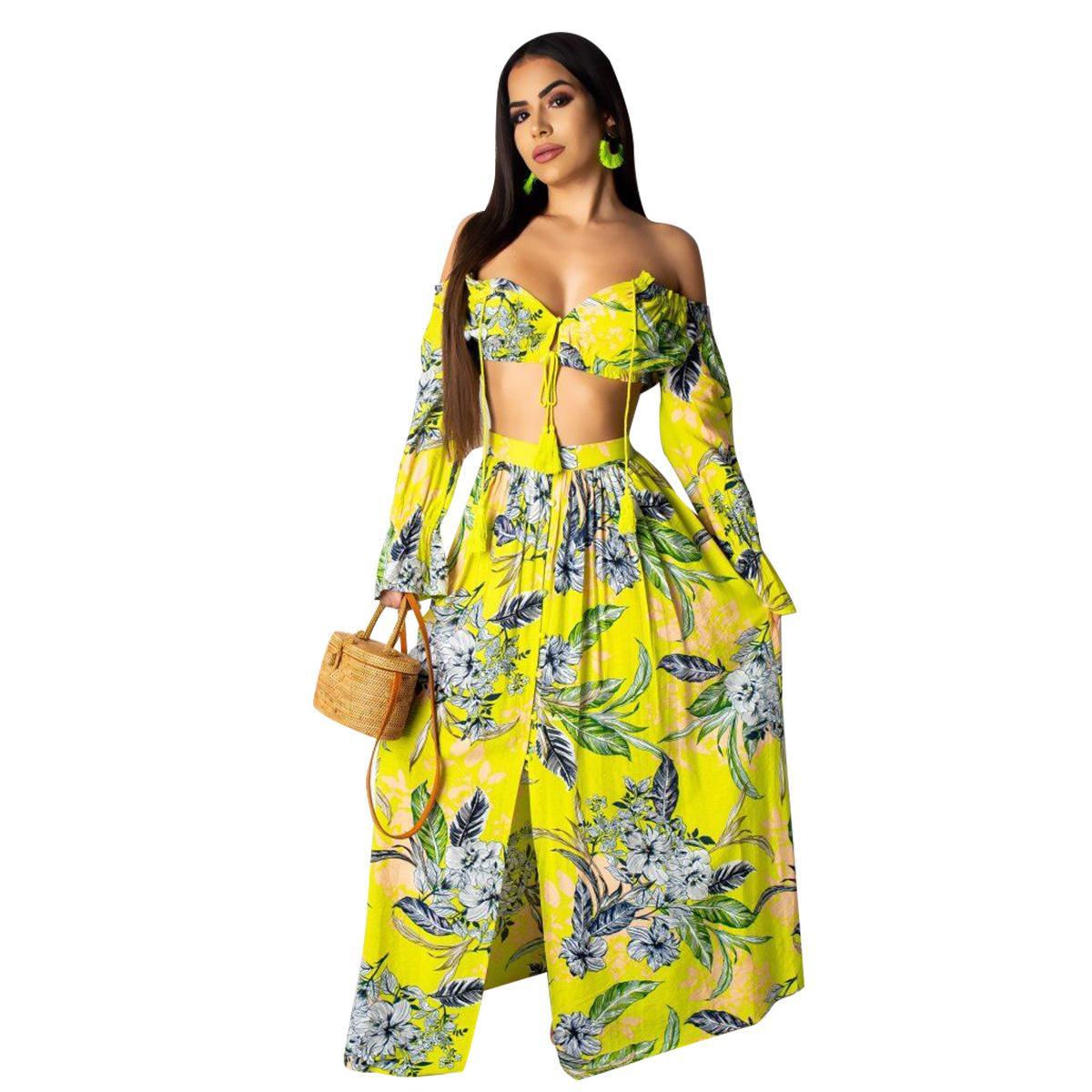 Women 2Pcs One Shoulder T-Shirt Maxi Skirt Suit Summer Beach Ladies Casual Dress
