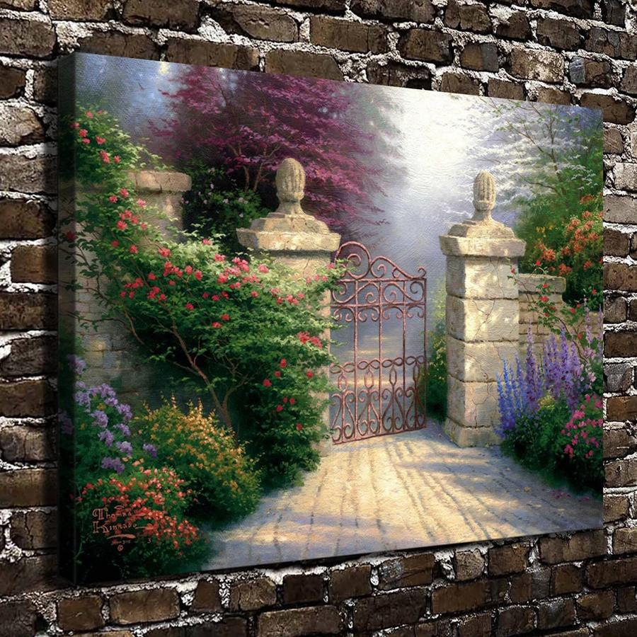 (Thomas Kinkade) The Valley of Peace -2,1 Pieces Canvas Prints Wall Art Oil Painting Home Decor (Unframed/Framed) 16x24""