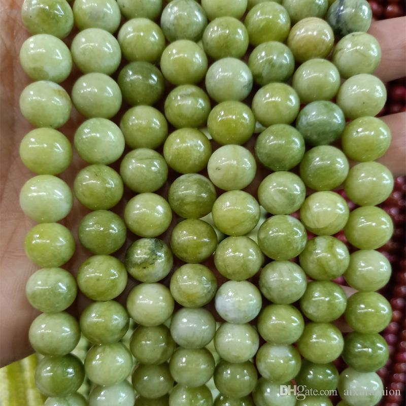 4/6/8/10/12 mm redondo natural del sur de piedra de jade de los granos DIY sueltas cuentas de jade verde para la joyería que hace pulsera del filamento 15 ''