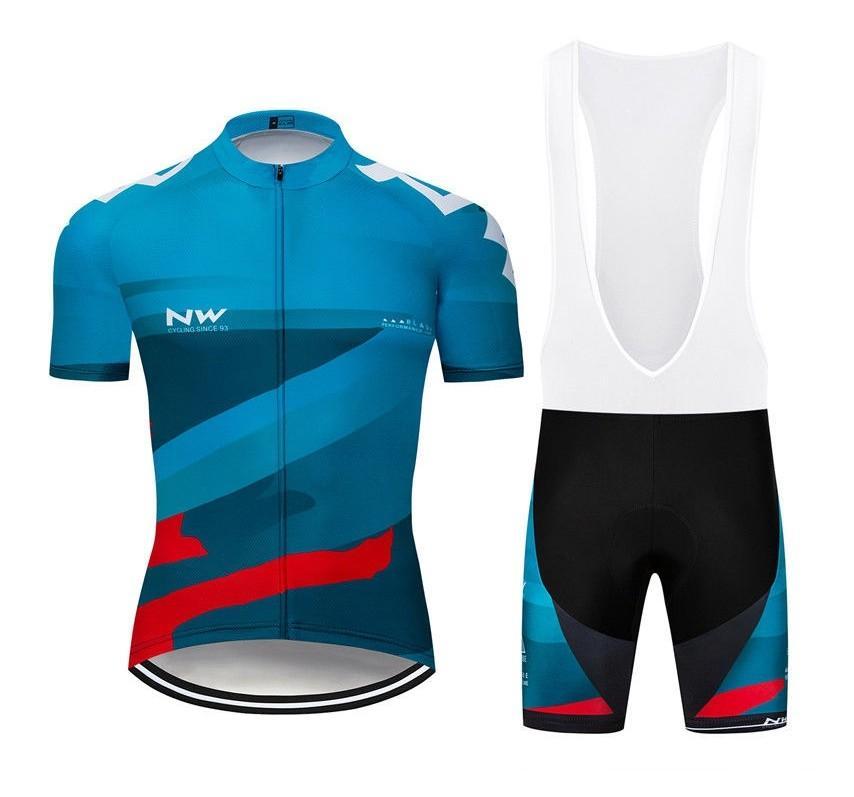 2019 Northwave Maillot cyclisme Maillot Ciclismo à manches courtes et une bavette Cuissards du vélo Kits Bracelet BICICLETAS O19121705
