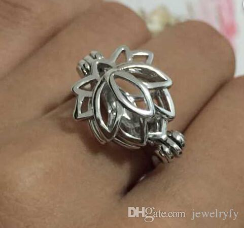 {Cage Ring} Lotus Shape Ring Can Open & Hold Pearl /Crystal /Gem Bead Adjustable Size Ring Mounting