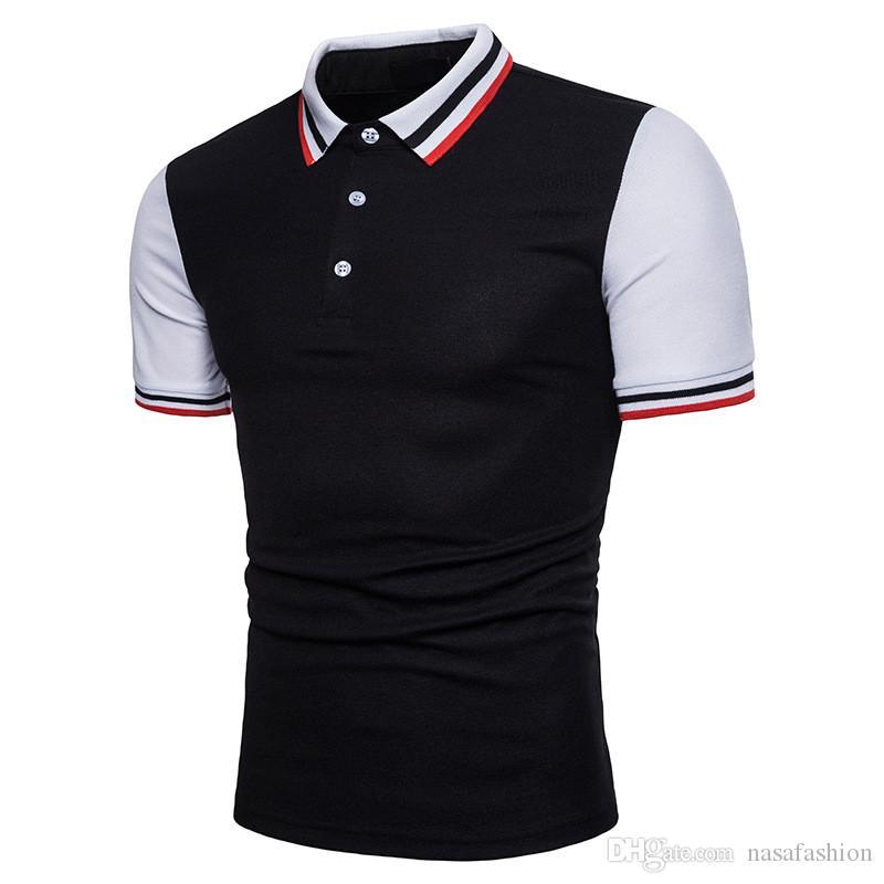Verão Mens Patchwork Polo Tshirts Moda Masculina Slim Fit Camisetas de Manga Curta Primavera Mens Designer de Roupas Casuais