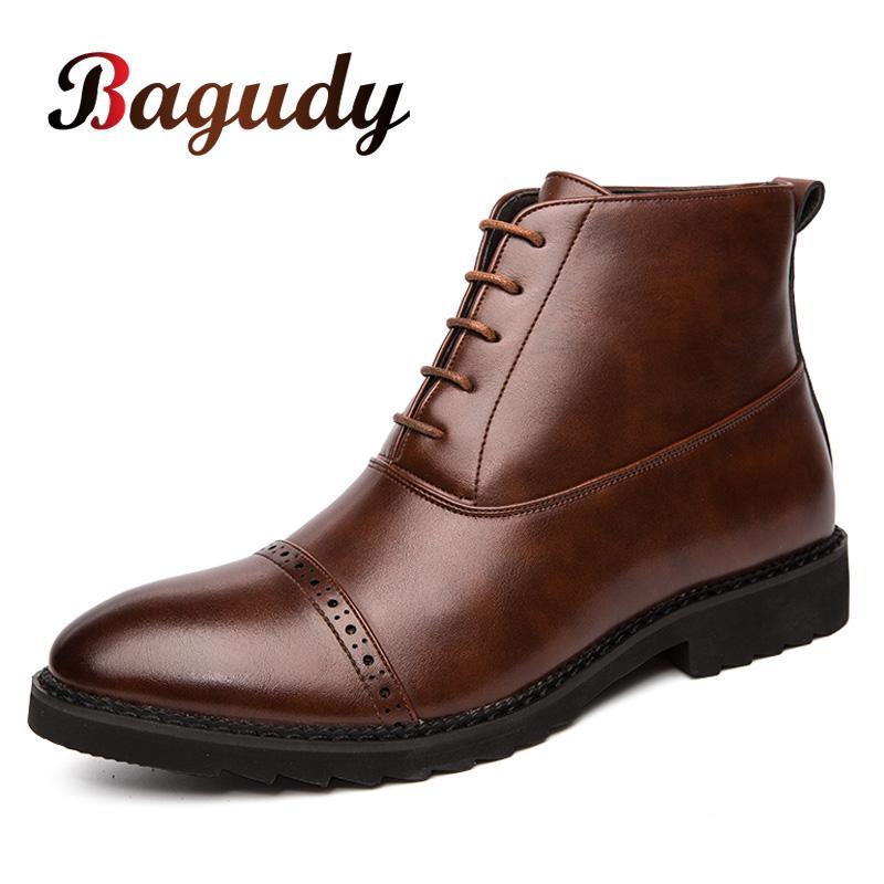 Homens clássico Bagudy Botas Sapatos de couro Homens de Negócios vestido Oxford Shoes Moda Mocassins Escritório Lazer Botas