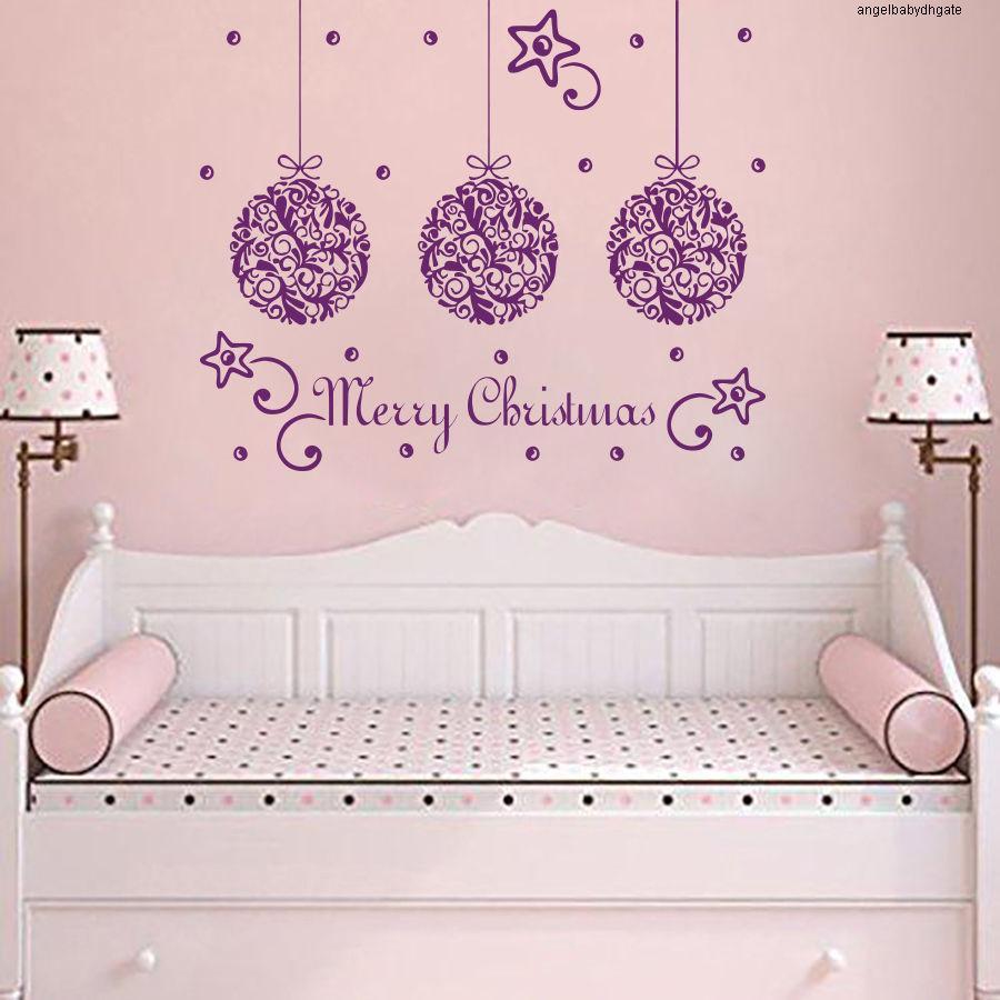 Kids Wall Merry Decor Christmas Sticker Quotes Star Children Bedroom Art Decorative Wall Mural Vinyl Wallpaper Mc020