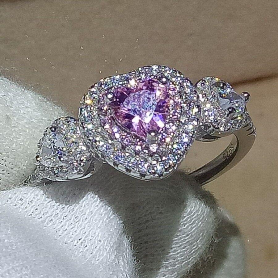 Women Sterling Silver Purple CZ Heart Promise Ring 5MM Free Gift Box
