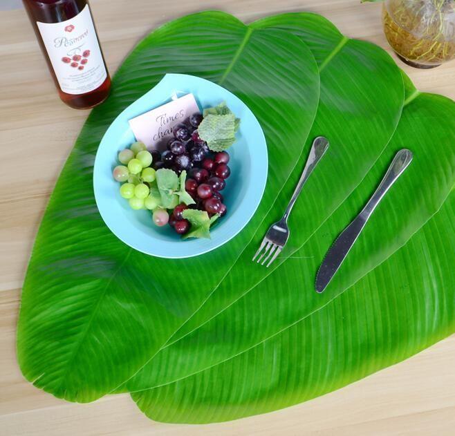 Yapay Muz Çelenkler Yaprak Tropikal Yaprakları Bitkiler Kaymaz Yumuşak Masa Placemats Hawaii Luau Jungle Plaj Tema Parti Dekor