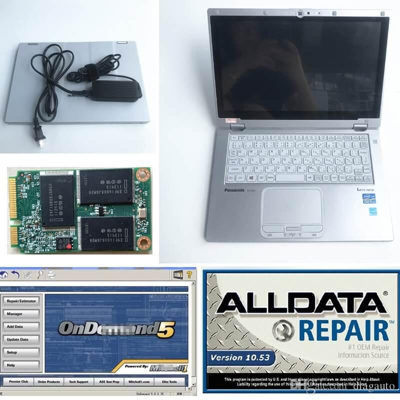 Mit 2015 + alldata 2014 Diagnosis Soft-ware + super laptop CF-AX2 i5 8G 1TB mini SSD car repair tool in good price