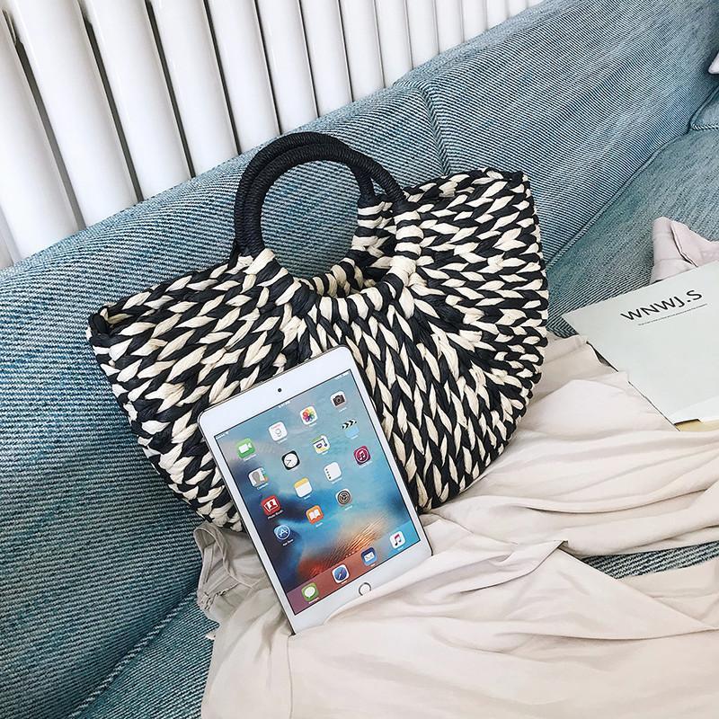 Mode noir et blanc sacs à main de paille femmes d'été Sac de plage 2019 Nouveau Sac en rotin à la main Vintage tissé sac à main pour les femmes