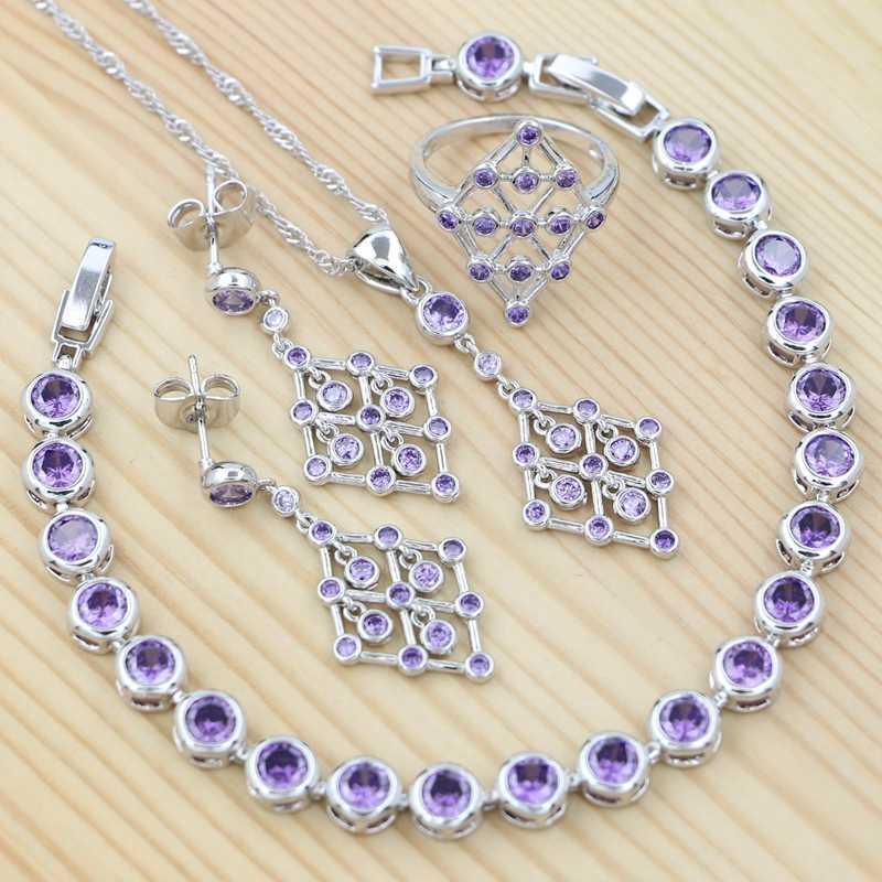 Boucles d'oreilles 925 bijoux en argent sterling Ensembles pour les femmes Violet Zircon Anneau Bracelet Collier Boucles d'oreilles Pendentif