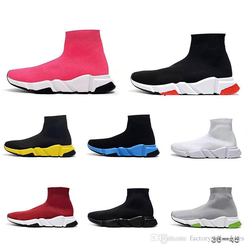 2019 TOP Designer Sneakers Speed Trainer Black Red Gypsophila Triple Black Fashion Flat Sock Boots Casual Shoes Speed Trainer Runner sport