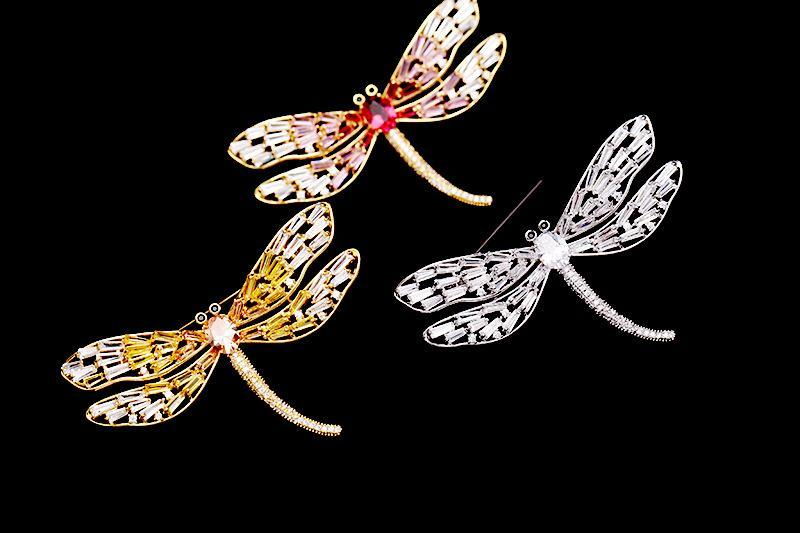Pink Crystal Dragonfly Brooch Pins Fashion Insect Brooches Women Luxury Wedding Jewelry Gold Plated Personality Suit Corsage Accessories