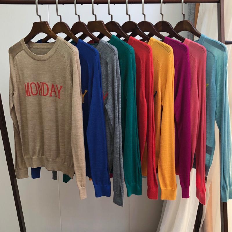 Las mujeres del suéter 2019 otoño e invierno Nuevo magnífico color nueve enrarecen alrededor del suéter de cuello jersey