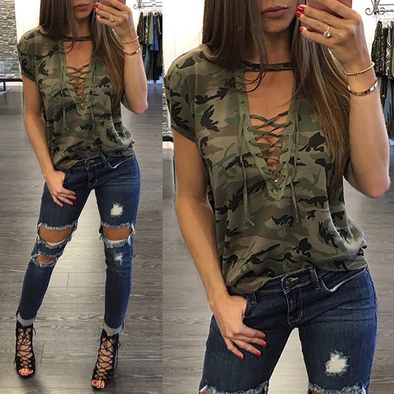 Mode d'été Femmes T-shirt à manches courtes Croix Ceinture Pull à encolure en V Camouflage Imprimer Tops Slim