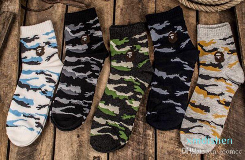 Fábrica de atacado de moda Tubarão Camo Meias Define Designer algodão Homens Skate Meias Multicolor meias com Box Aaa Qualidade