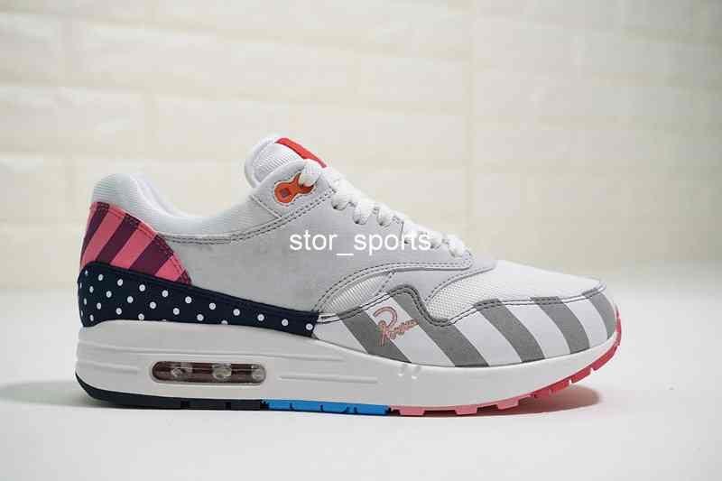 Acheter DLX ATMOS Chaussures Nike Air Max 1 87 Parra Sean Wotherspoon Air Bleu Hommes Chaussures De Course Animal Pack 1s 87s Leopard Classique