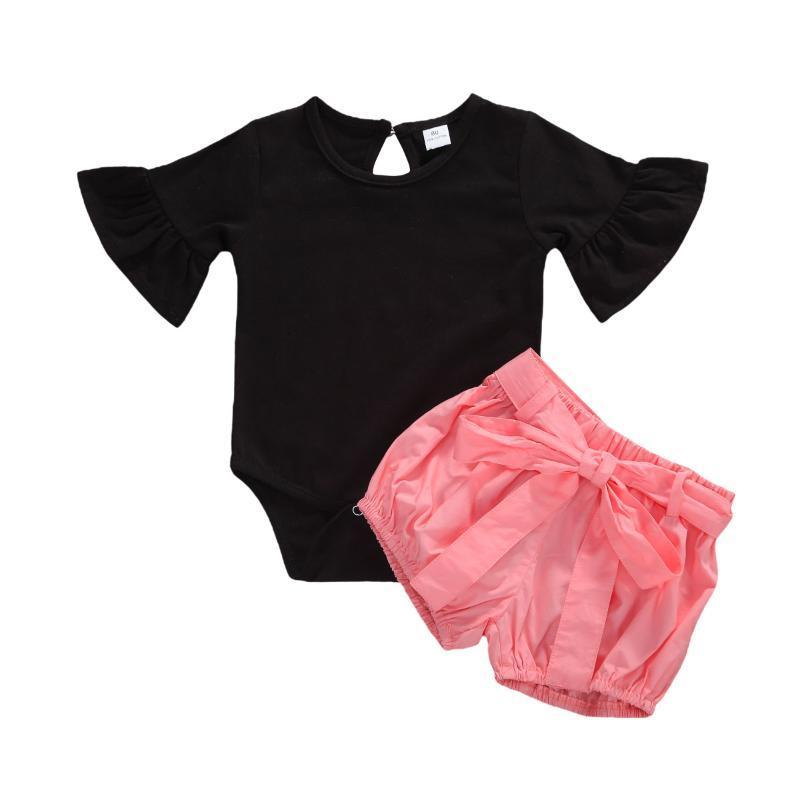 Giyim Setleri Doğan Bebek Kız Giysileri 2 adet Trompet Kol Romper + Yay Şort Rahat Açık 0-18 M Bebek Takım Elbise