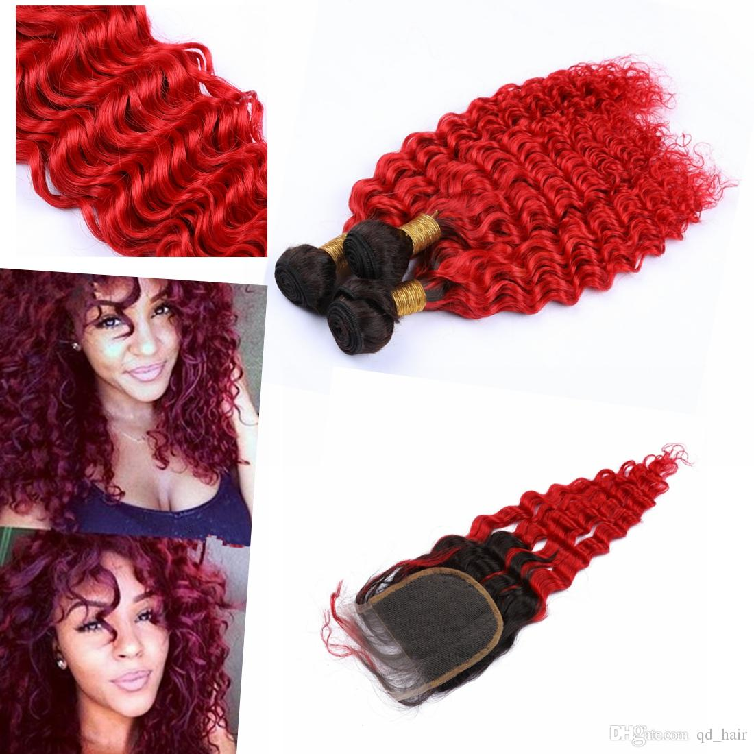 """Ombre Remy Brazilian Hair Bundles with Closure 4"""" * 4"""" Ombre Color #1B/#613 Deep Wave Ombre Bundle Hair with Closure"""