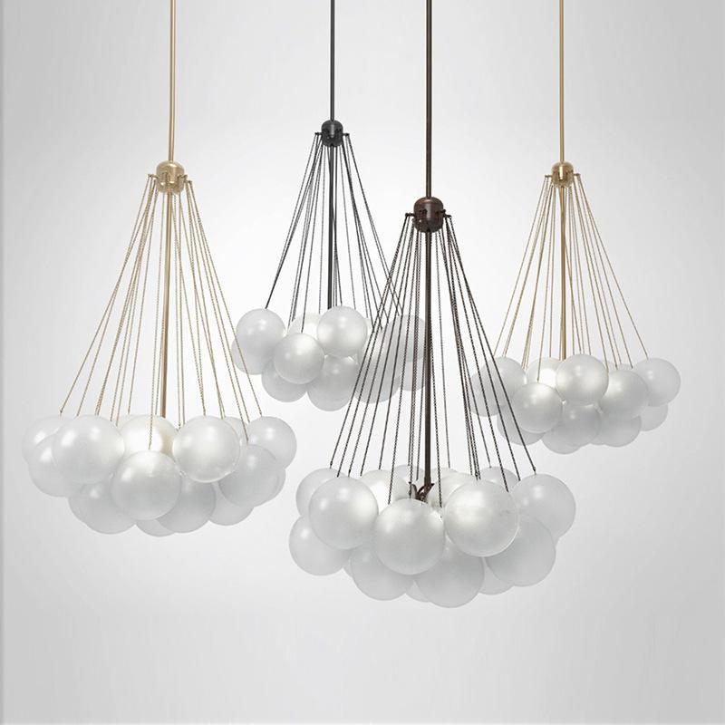Nordic Living Room Gold / Black Metal E27 Led Chandelier Bedroom Glass Globes Hanging Chandelier Lighting Suspend Lamp