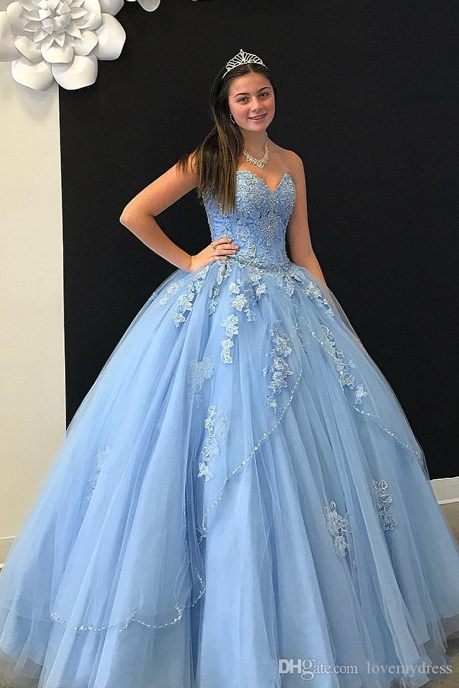 Bleu clair dentelle 3D Floral Applique Robes De Quinceanera robes Bustier Cristal Perles Deux Couches Robes De Bal Sweet 16 Robe Tulle Longue