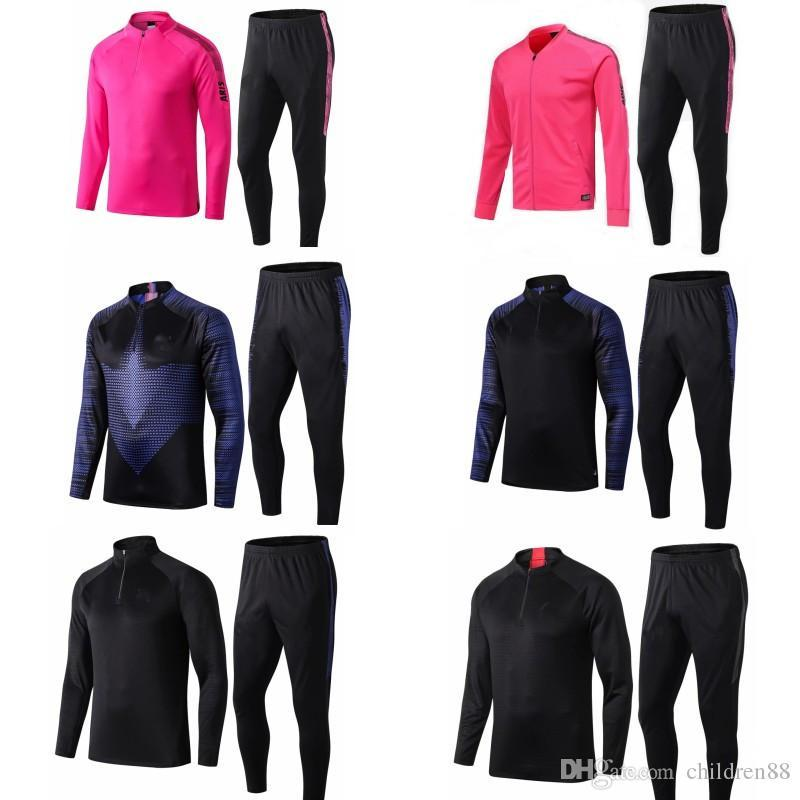 19 20 psg tracksui kids kits soccer jogging suits football training suit set pink black running track survetement psg