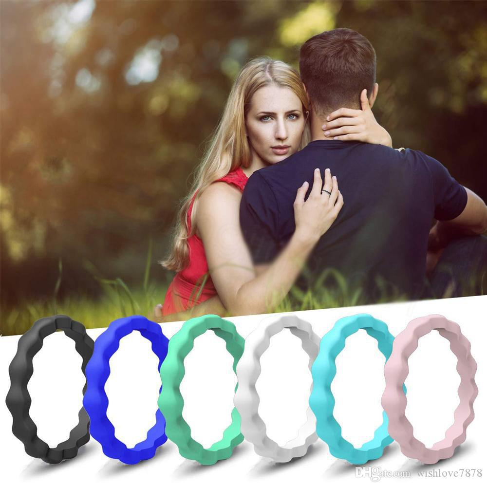 Wave Silicone ring Colorful Finger Wedding Silicone Hoop Rubber Hand Band Flexible Rings Thin Stackable Girls Lady Jewelry 3mm