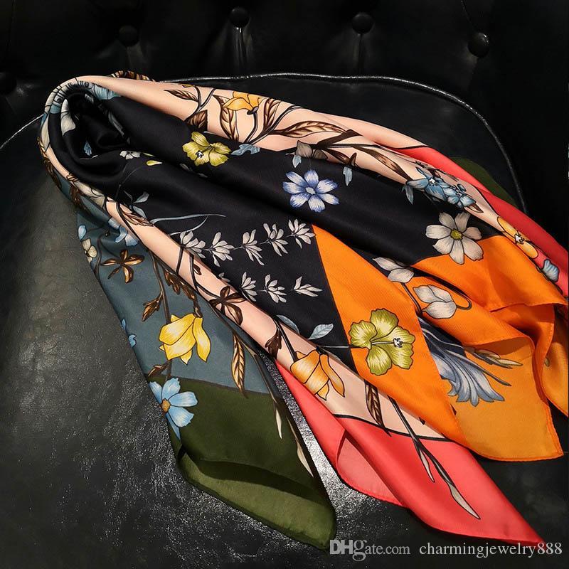 2019 luxury Scarf For Women 70*70cm brand Women Silk scarf Beach Shawl and Echarpe summer Wrap Designer scarves Plus Size female beach stole