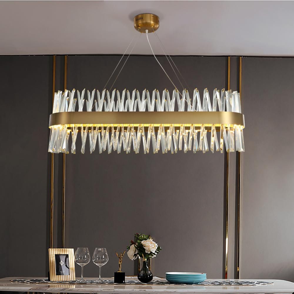 Rectangular Crystal Chandelier Modern Creative Lighting Led Strips Luxury Hanging Lamp Fixtures For Dining Room Kitchen Island Stained Glass Chandelier Chandelier Modern From Wenyiyi 572 87 Dhgate Com