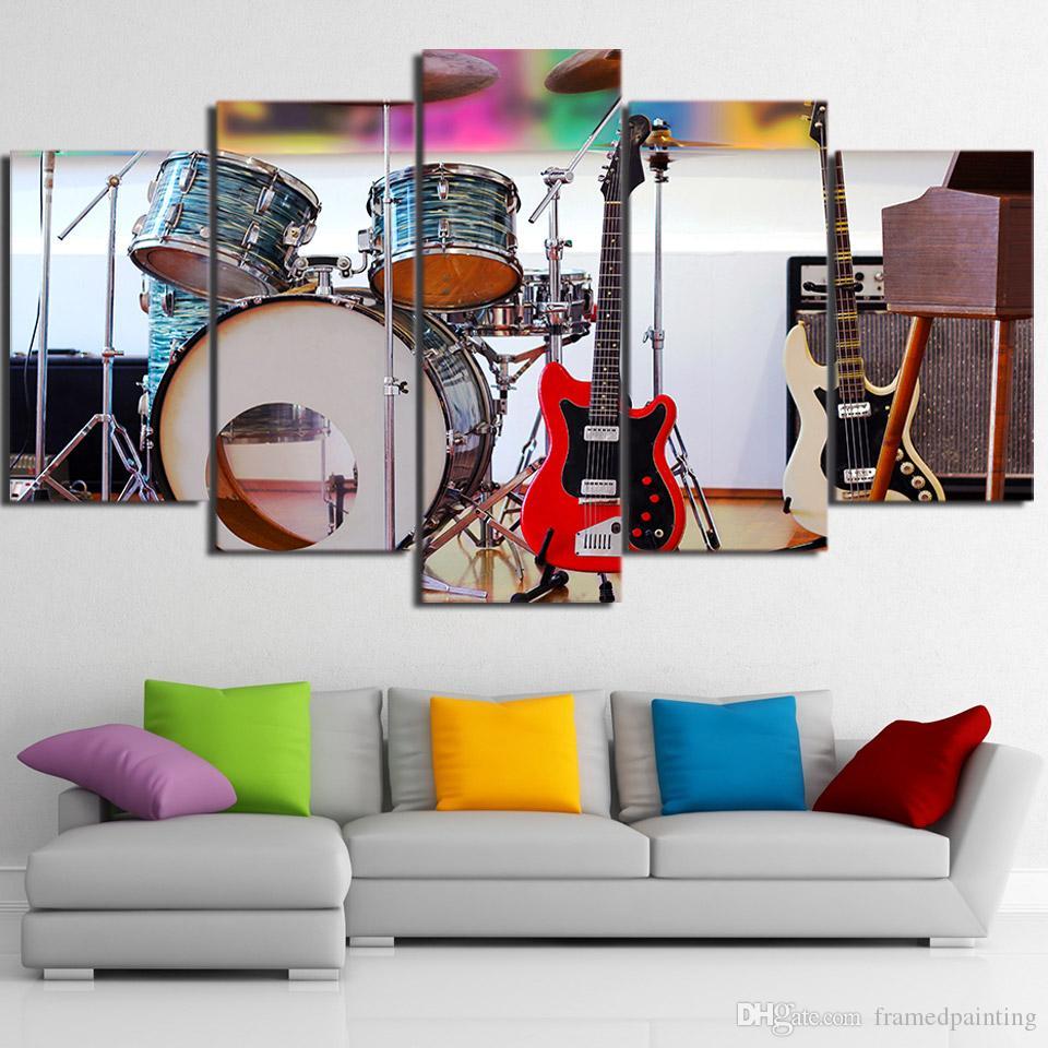 Guitar Drum Music Instruments 5 Pieces canvas Wall Art Print Picture Home Decor