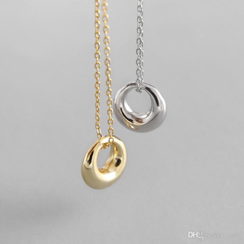 أصيلة 925 فضة الهندسية الدائرة قلادة القلائد للنساء الجديدة الاسترليني بسيط فضية 925 مجوهرات هدايا الأم
