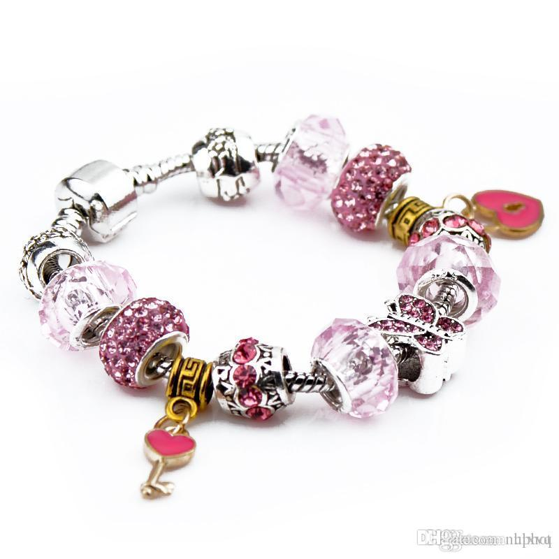 Hot Uphot 2019 5pcs Brand Silver Plated Charm Bracelet Women Designer Pink Clear Beads Diamonds Key Heart Pendant Pandora Bangles Jewelry