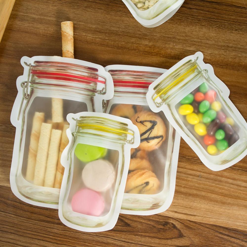 Réutilisable Mason Jar Fermeture à glissière sacs réutilisables Snack Leakproof Food Saver Sandwich Sac de rangement pour Seal Voyage Fresh Food Cookies Sac
