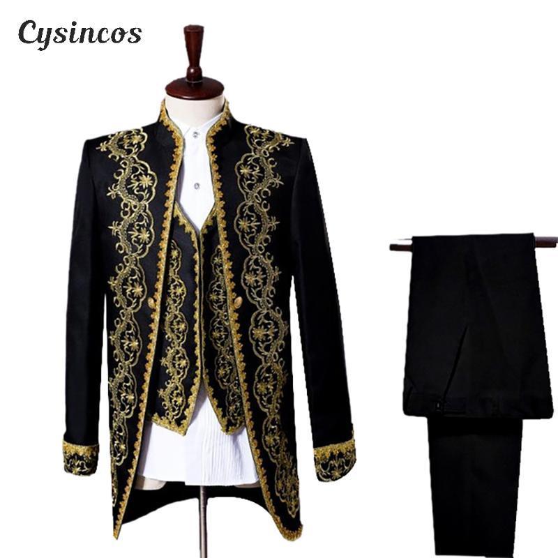 CYSINCOS S-XXL Mens classico tre pezzi ricamo fase Singer Abiti da sposa più recenti della mutanda del cappotto disegni di costumi Homme