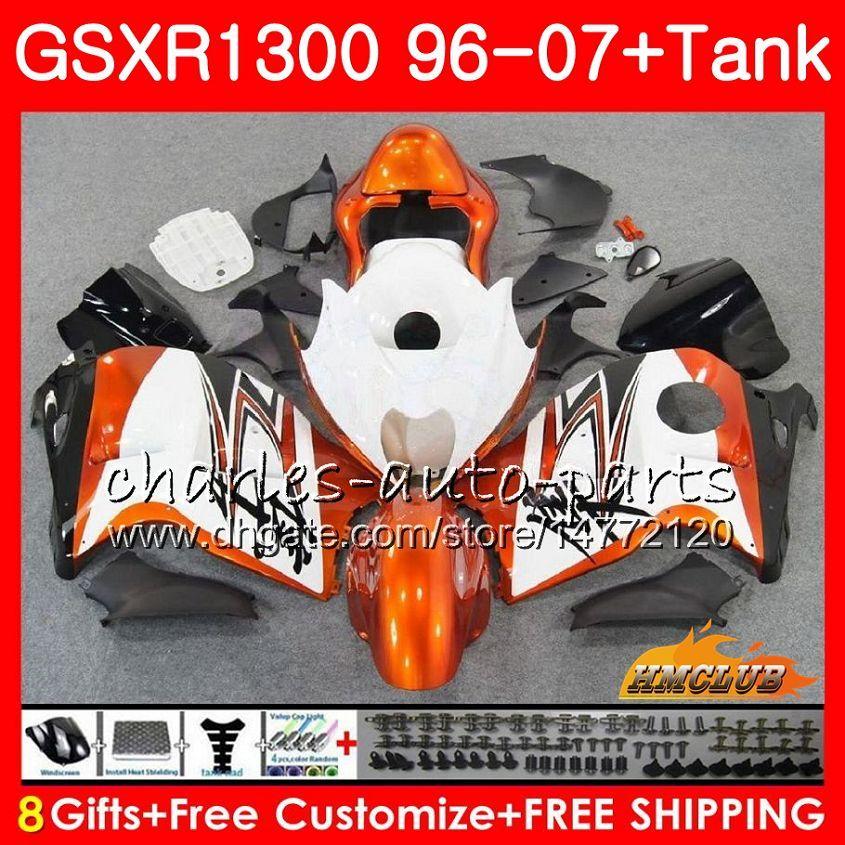 Cuerpo para SUZUKI Hayabusa GSXR 1300 GSXR1300 blanco naranja 96 97 98 99 00 01 07 24HC.54 GSX R1300 1996 1997 1998 1999 2000 2001 2007 Carenado