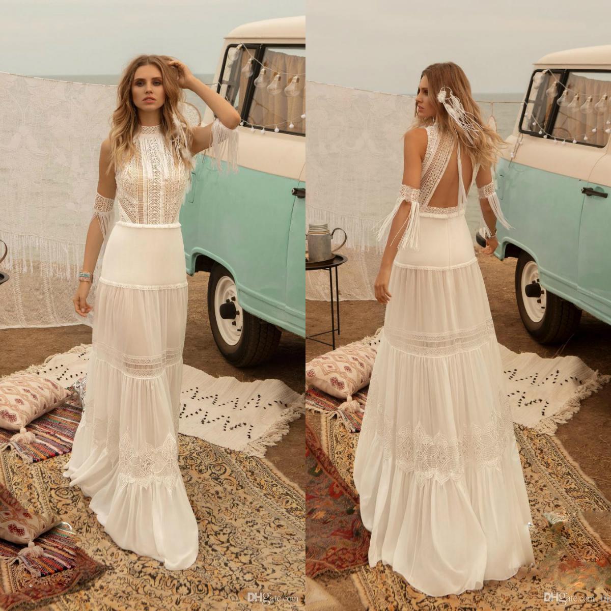 2020 Últimas Tassel vestido de casamento vestidos de alta Neck Lace Appliqued Chiffon A Linha de Vestido de Noiva bohemian casamento Robes De Mariée