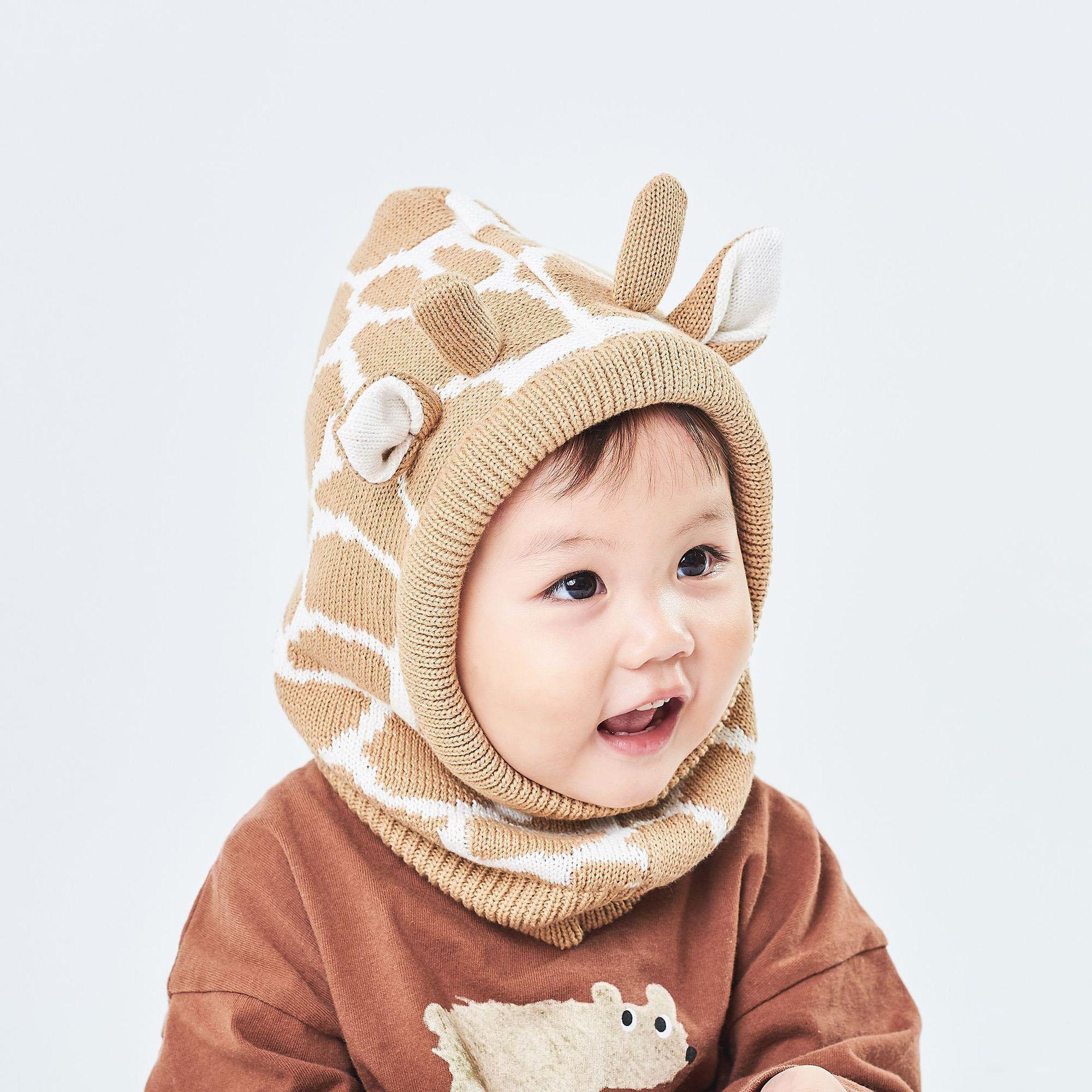 Nouveau Automne Hiver Bébé Enfant Chapeau Tricoté Bonnets enfants Toison Chapeaux bébés Chapeaux chaud Cache-oreilles cou