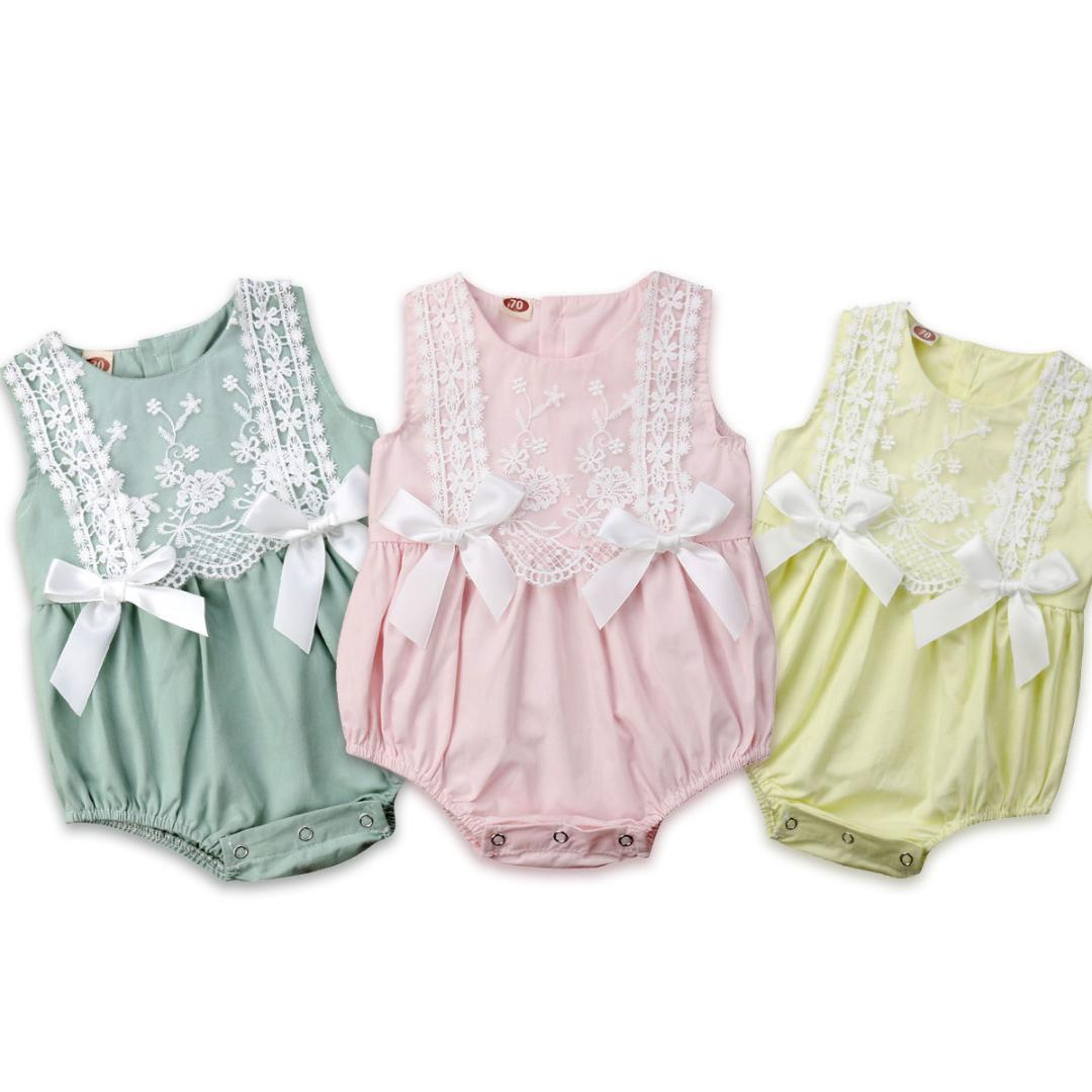 UK Newborn Kids Baby Girls Clothes Lace Puff Sleeve Leopard Romper Summer Outfit