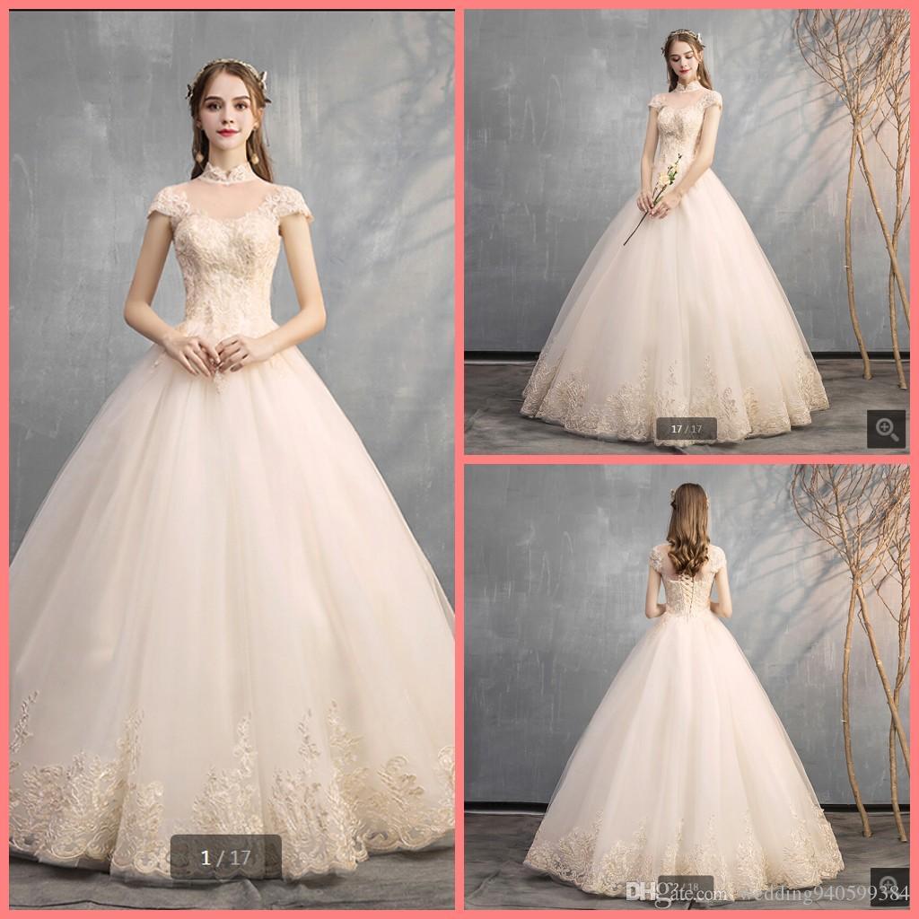 2020 annata collo alto champagne in tulle tappo abito da sposa in pizzo manica appliques corsetto eleganti abiti da sposa meglio selling2020