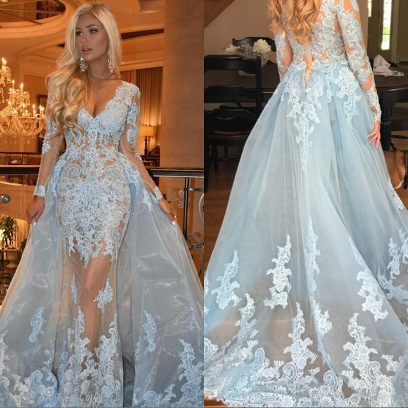 Sexy Long Sleeves Evening Dresses Deep V Neck Appliques Lace Tulle Over Skirt Illusion Evening Dresses Formal Gowns