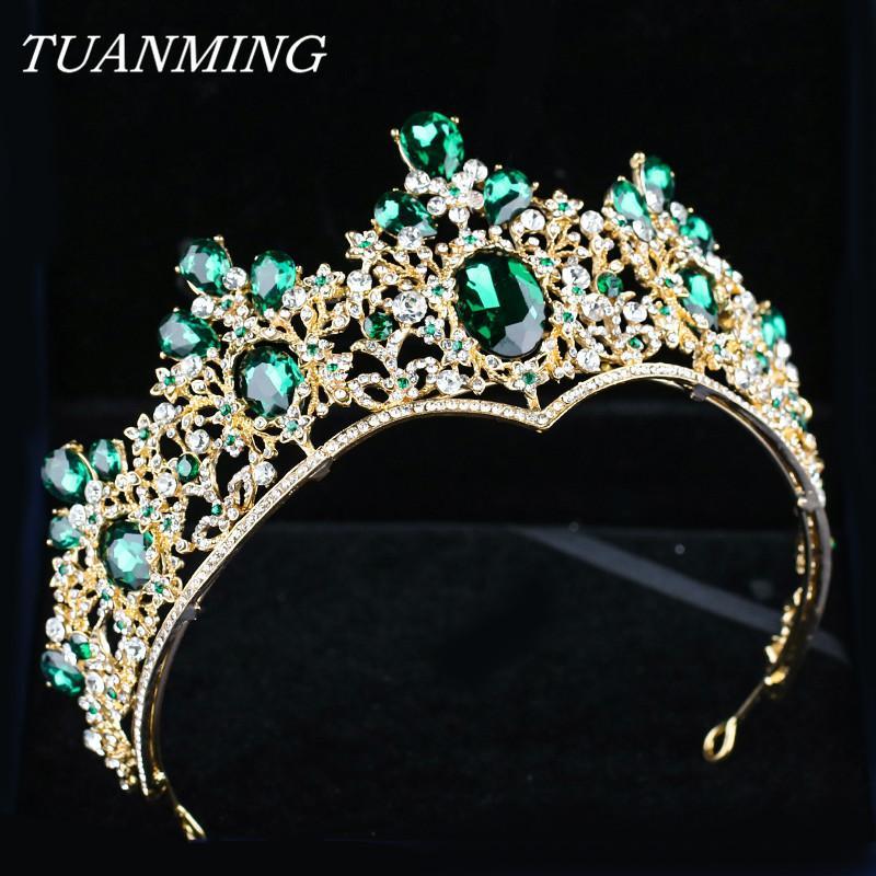 Baroque Golden Crown & Tiara Bride Headbands Green Crystal Crown Rhinestone Hair Jewelry Pageant Prom Women Head Accessories C18122501