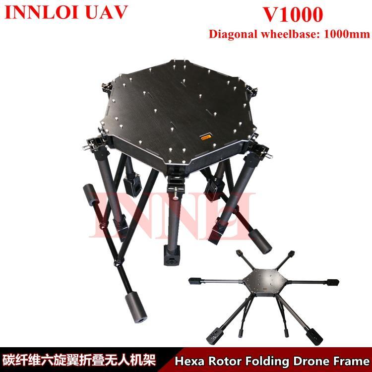 INNLOI UAV bricolage 1000mm 6 rotor châssis en fibre de carbone pour drone UAV agricole, peut correspondre à 5kg pulvérisation cardan corps de cadre de Hexacopter