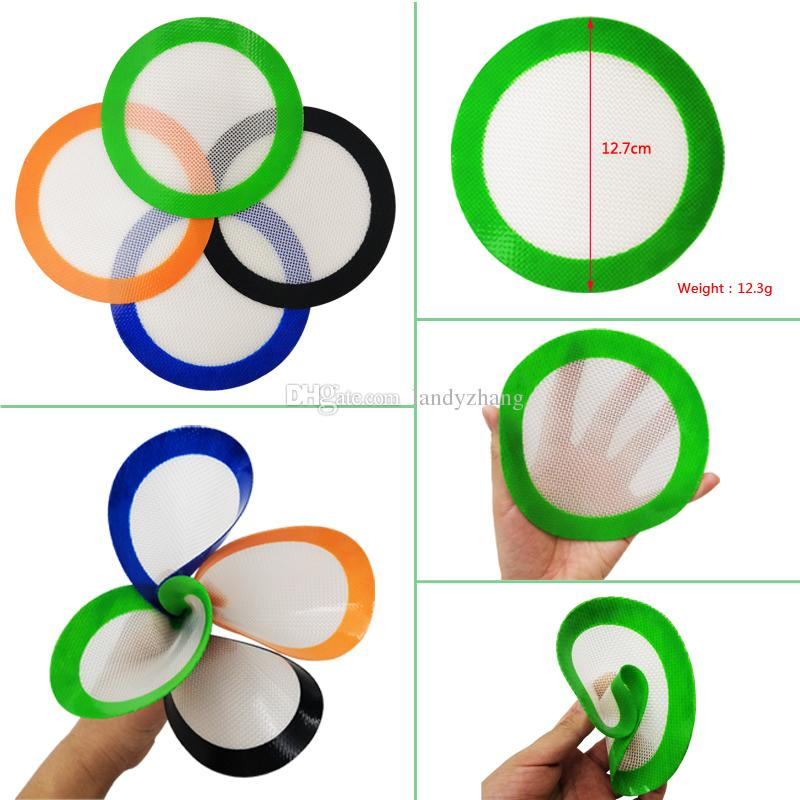 10 pcs/lot silicone baking mat quality FDA reusable non stick concentrate wax slick oil heat resistant dab round silicone material 12.7cm